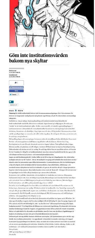 Hbl 21.9.2013 Göm inte institutionsvården bakom nya skyltar